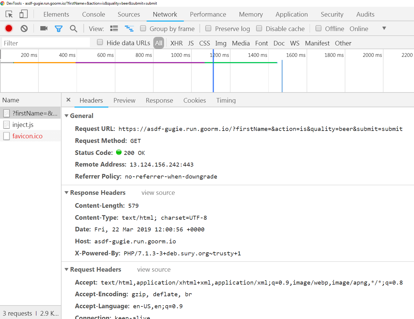 Inspecting a single GET request in Chrome's Network Tab