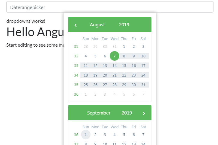 Installed a basic ngx-bootstrap datepicker