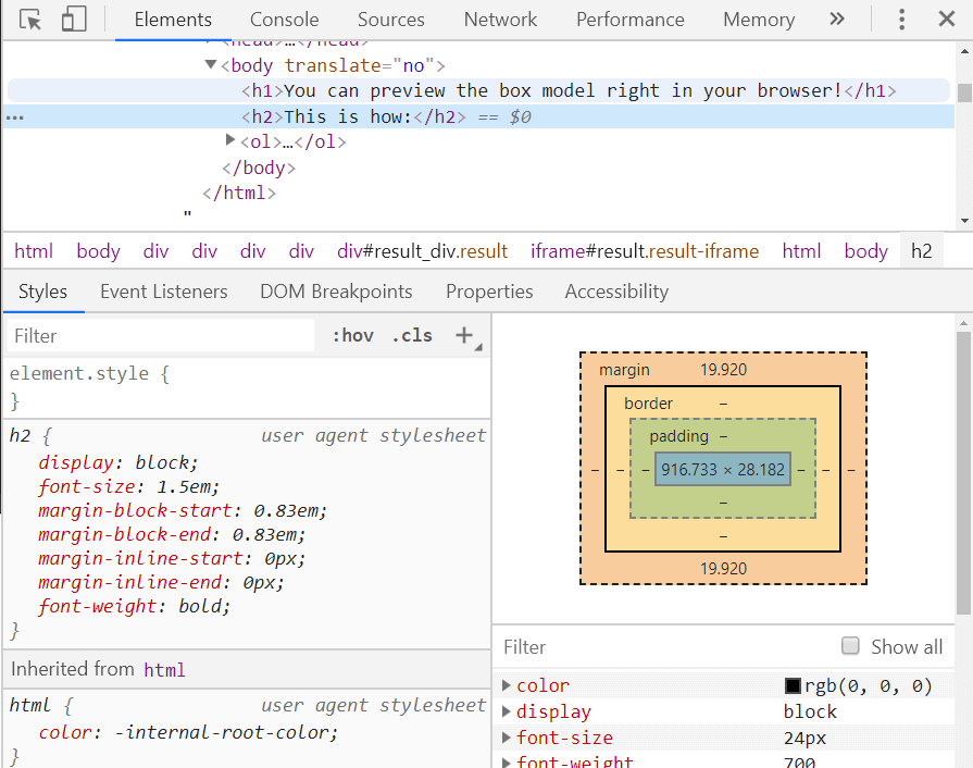 A preview of the box model in developer tools