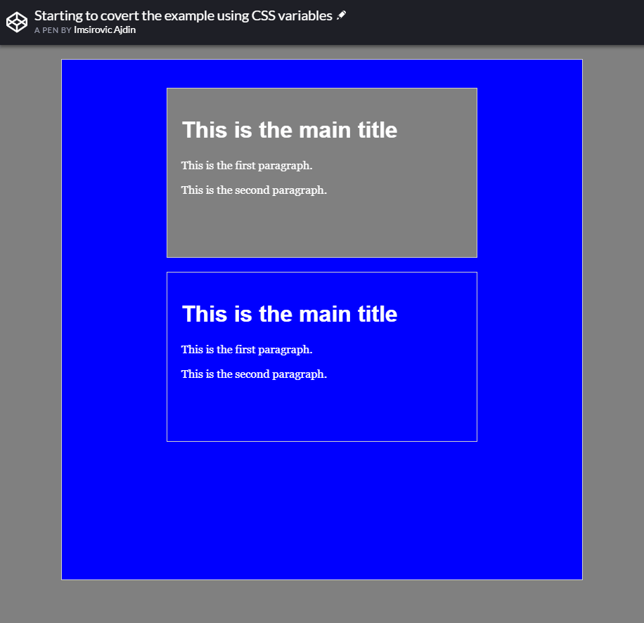Starting to covert the layout example using CSS variables
