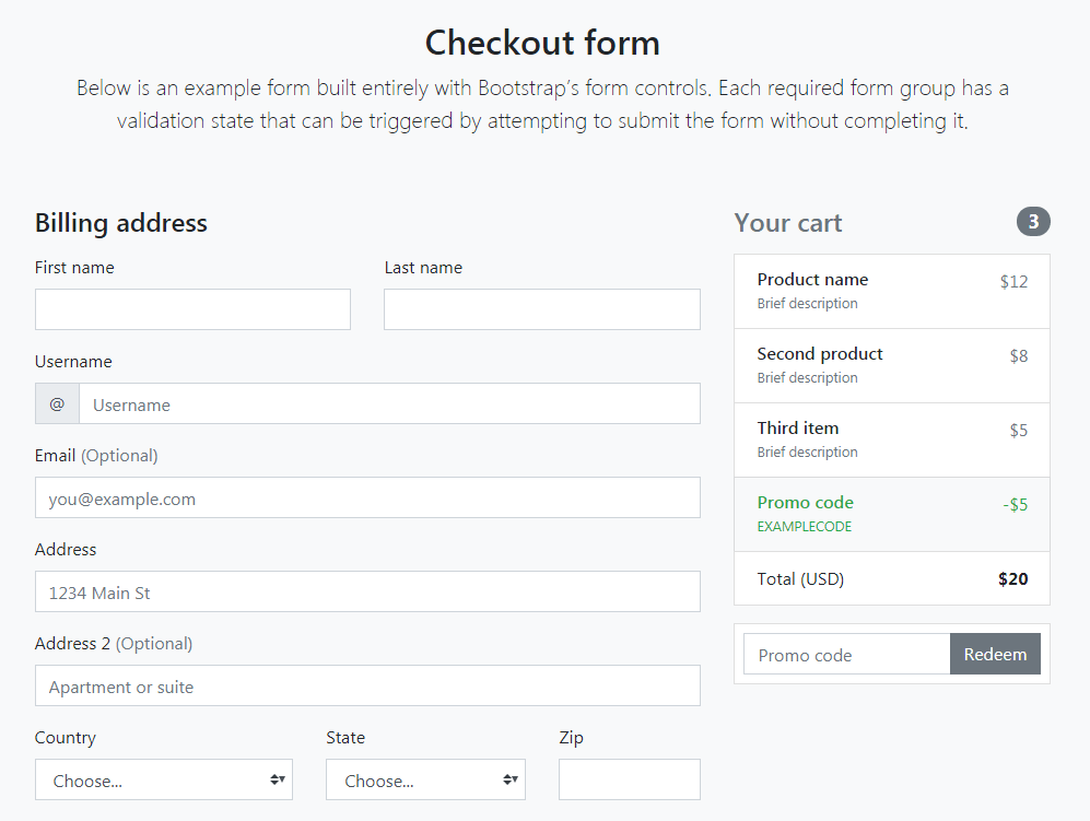 Square borders on inputs in Checkout example layout