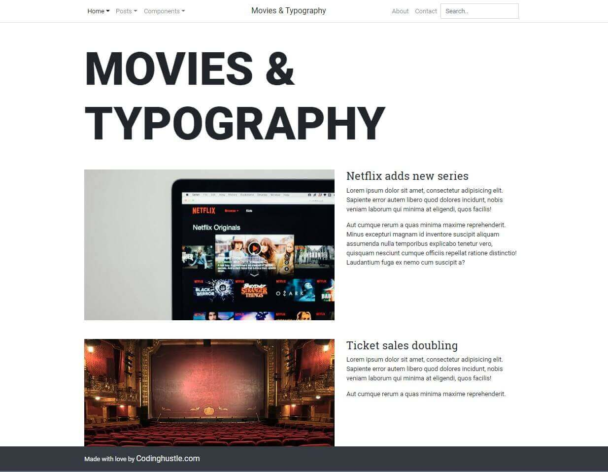 The completed Movies and Typography layout