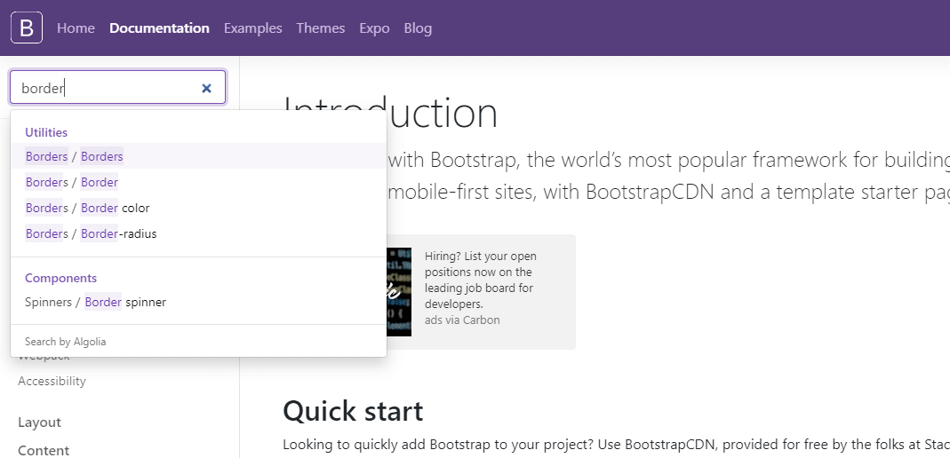 Screenshot of looking up the word border in Bootstrap documentation