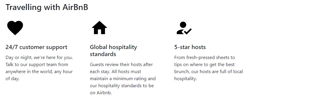 Travelling with AirBnB first change in this section