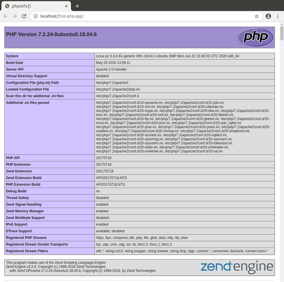PHP info showing in the browser