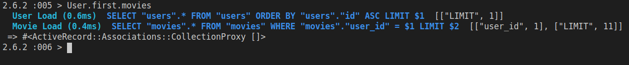 Checking to see if there are any movies that belong to the first user