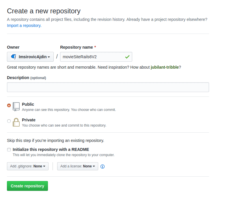 Make a new repository on GitHub