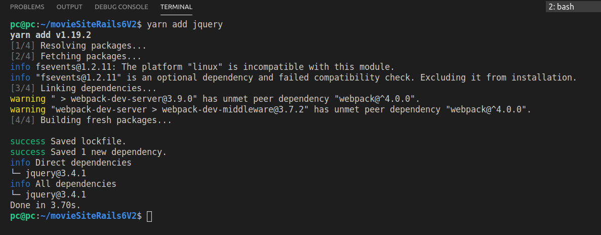 The result of running the yarn add jquery command