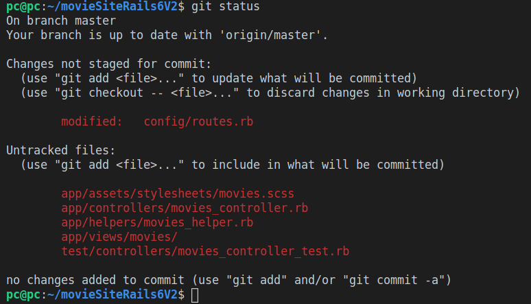 Running git status after generating the movie controller