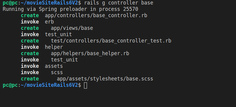 The result of running rails g controller base