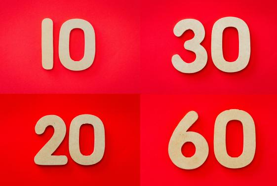 Four different numbers on a red background